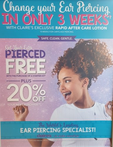 Get your ears pierced at Claire's!